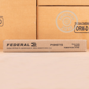 Image of 10mm ammo by Federal that's ideal for home protection.