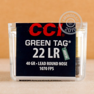 Photograph of .22 Long Rifle ammo with Lead Round Nose (LRN) ideal for precision shooting, training at the range.