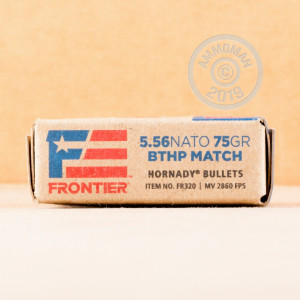 Photo detailing the 5.56X45MM HORNADY FRONTIER 75 GRAIN BTHP MATCH (20 ROUNDS) for sale at AmmoMan.com.