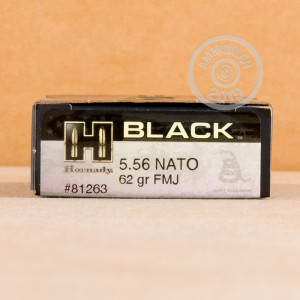 Photo detailing the 5.56x45 - 62 Grain FMJ - Hornady BLACK - 20 Rounds for sale at AmmoMan.com.