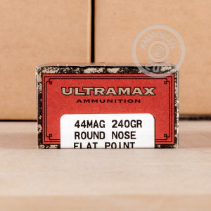 A photo of a box of Ultramax ammo in 44 Remington Magnum.