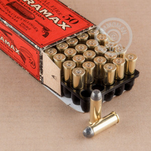A photograph detailing the 44 Remington Magnum ammo with Lead Flat Nose bullets made by Ultramax.