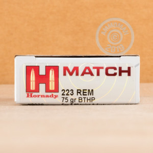 Photo detailing the 223 REMINGTON HORNADY MATCH 75 GRAIN HPBT (20 ROUNDS) for sale at AmmoMan.com.