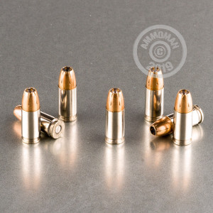 A photograph of 200 rounds of 150 grain 9mm Luger ammo with a JHP bullet for sale.