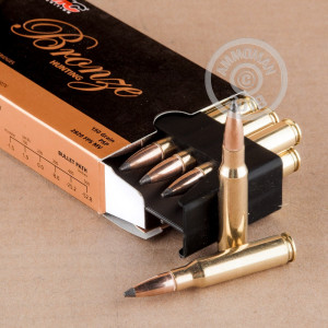 A photograph of 20 rounds of 150 grain 308 / 7.62x51 ammo with a Pointed Soft-Point (PSP) bullet for sale.