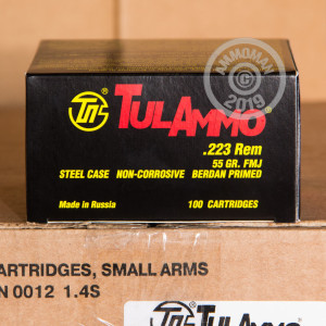 A photograph of 100 rounds of 55 grain 223 Remington ammo with a FMJ bullet for sale.