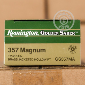 A photograph detailing the 357 Magnum ammo with JHP bullets made by Remington.