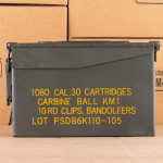 Image of 30 CARBINE KOREAN MILITARY SURPLUS 110 GRAIN FMJ (1080 ROUNDS IN AMMO CAN)