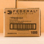 Photo detailing the 9MM FEDERAL HYDRA-SHOK 124 GRAIN JHP (1000 ROUNDS) for sale at AmmoMan.com.