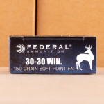 Photo detailing the 30-30 FEDERAL POWER-SHOK 150 GRAIN SP FLAT NOSE (200 ROUNDS) for sale at AmmoMan.com.