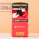 Photograph showing detail of 45 ACP - 230 Grain FMJ - Federal American Eagle Bulk Pack - 1000 Rounds