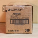Photo detailing the 7.62x51MM FEDERAL 149 GRAIN FULL METAL JACKET (500 ROUNDS) for sale at AmmoMan.com.