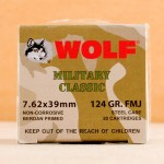 Image of the 7.62X39 WOLF MILITARY CLASSIC 124 GRAIN FMJ (1000 ROUNDS) available at AmmoMan.com.
