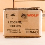 Photo detailing the 7.62x39 WOLF FMJ 123 GRAIN (FULL METAL JACKET) for sale at AmmoMan.com.