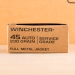 Photograph showing detail of 45 ACP WINCHESTER SERVICE GRADE 230 GRAIN FMJ (500 ROUNDS)