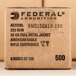 Photograph showing detail of .223 REMINGTON FEDERAL AMERICAN EAGLE 55 GRAIN FULL METAL JACKET (500 ROUNDS)