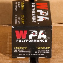 Image detailing the steel case on the Wolf ammunition.