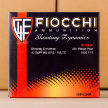 Image of .40 Smith & Wesson ammo by Fiocchi that's ideal for precision shooting, shooting indoors, training at the range.