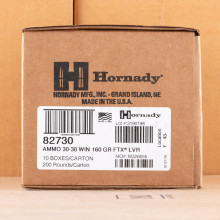 Image of 30-30 Winchester ammo by Hornady that's ideal for big game hunting, home protection, hunting wild pigs, whitetail hunting.