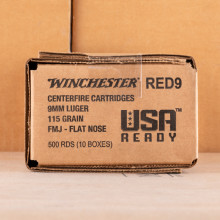 Image of the 9MM WINCHESTER USA READY 115 GRAIN FMJ FN (50 ROUNDS) available at AmmoMan.com.