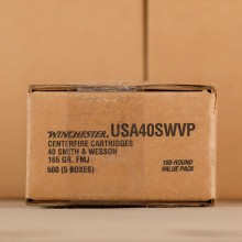 Photograph showing detail of 40 S&W WINCHESTER USA 165 GRAIN FULL METAL JACKET (500 ROUNDS)