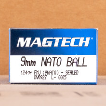 Photo detailing the 9MM NATO MAGTECH 124 GRAIN FMJ (50 ROUNDS) for sale at AmmoMan.com.