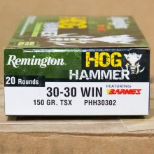 A photograph of 20 rounds of 150 grain 30-30 Winchester ammo with a TSX bullet for sale.