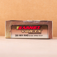 Image of 300 Winchester Magnum ammo by Barnes that's ideal for big game hunting, hunting wild pigs, whitetail hunting.