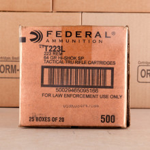 A photograph of 500 rounds of 64 grain 223 Remington ammo with a soft point bullet for sale.
