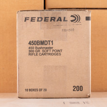 A photo of a box of Federal ammo in 450 Bushmaster.