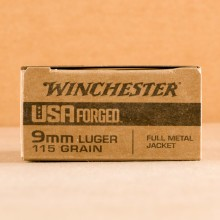 Photograph showing detail of 9MM LUGER WINCHESTER USA FORGED 115 GRAIN FMJ (500 ROUNDS)