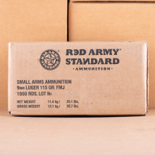 Image of 9mm Luger ammo by Red Army Standard that's ideal for training at the range.