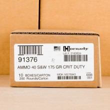 Photo of .40 Smith & Wesson JHP ammo by Hornady for sale at AmmoMan.com.