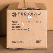 .223 FEDERAL AMERICAN EAGLE 55 GRAIN FMJ (500 Rounds)