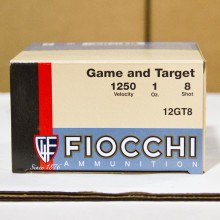 "12 GAUGE FIOCCHI GAME AND TARGET 2-3/4"" 1 OZ. #8 SHOT (25 ROUNDS)"