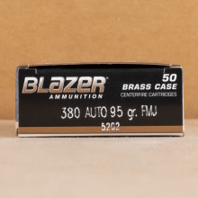 Photograph showing detail of 380 AUTO BLAZER BRASS 95 GRAIN FULL METAL JACKET #5202 (1000 ROUNDS)