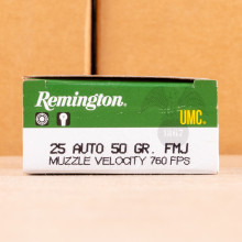 A photograph detailing the .25 ACP ammo with FMJ bullets made by Remington.
