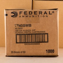 Photo of .40 Smith & Wesson JHP ammo by Federal for sale at AmmoMan.com.