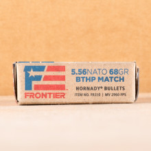 A photograph of 500 rounds of 68 grain 5.56x45mm ammo with a Hollow-Point Boat Tail (HP-BT) bullet for sale.