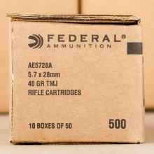 Image of Federal 5.7 x 28 rifle ammunition.