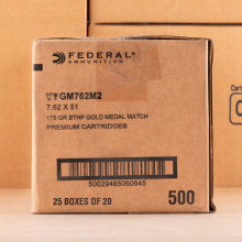 Photo detailing the 7.62 NATO FEDERAL GOLD MEDAL MATCH 175 GRAIN BTHP (500 ROUNDS) for sale at AmmoMan.com.