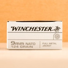 Image of the 9MM WINCHESTER 124 GRAIN FULL METAL JACKET (500 ROUNDS) available at AmmoMan.com.