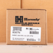 A photo of a box of Hornady ammo in 308 / 7.62x51.