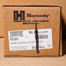 A photograph detailing the 308 / 7.62x51 ammo with soft point bullets made by Hornady.