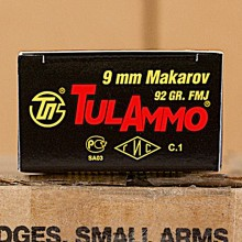 Image of 9x18 Makarov ammo by Tula Cartridge Works that's ideal for training at the range.