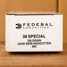 A photograph of 50 rounds of 158 grain 38 Special ammo with a Lead Semi-Wadcutter (LSWC) bullet for sale.