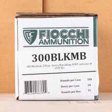An image of 300 AAC Blackout ammo made by Fiocchi at AmmoMan.com.