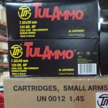 7.62x39MMTULA AMMO 124 GRAIN HOLLOW POINT(40ROUNDS)