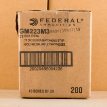 Photo of 223 Remington Hollow-Point Boat Tail (HP-BT) ammo by Federal for sale.