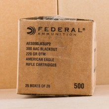 A photograph detailing the 300 AAC Blackout ammo with Open Tip Match bullets made by Federal.